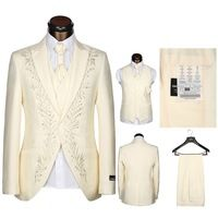 Custom Made Men Suit, Tailor Suit, Bespoke white black Cream embroidered Wedding Suits For Men, Slim Fit Groom Tuxedos 3 Piece
