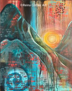 The Sun Gate, a painting by Reina Cottier.  Mixed Media.