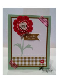 I like how Connie combined the Gingham wheel with the Needlepoint Border embossing folder.