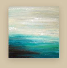 Beach Seascape Original Art Abstract Acrylic Painting on GAllery Canvas Titled: Contemplate 36x36x1.5 by Ora Birenbaum via Etsy