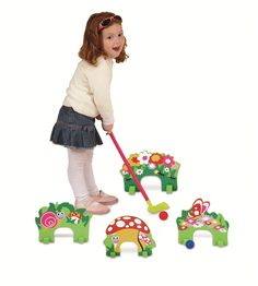 Sturdy 8 X 8, thick Edu-Foam Garden Party themed arches for indoor and outdoor fun. Set includes four arches, eight arch holders, 2 Edu-Foam balls, 2 putters and includes a backpack style golf bag    Min Age: 3+    Ships to USA only.