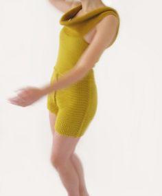 Ochre crochet short pantsuit