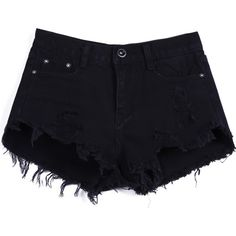 SheIn(sheinside) Black Buttons Ripped Fringe Denim Shorts ($18) ❤ liked on Polyvore