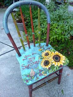 """Take a Seat in a Hand-painted Chair """"You Are My Sunshine"""" decoratively hand painted and distressed chair by Ellen Leigh Painted Wooden Chairs, Whimsical Painted Furniture, Hand Painted Furniture, Funky Furniture, Shabby Chic Furniture, Furniture Projects, Furniture Makeover, Furniture Market, Furniture Removal"""