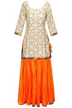 Cream gota embroidered kurta with orange sharara pants and dupatta by Ayinat.