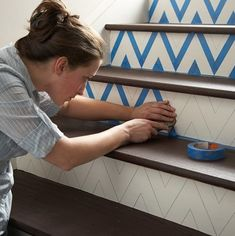 Chevron DIY painted #stairs