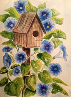 Watercolor morning glories