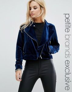 Noisy May Petite | Noisy May Petite Velvet Biker Style Jacket