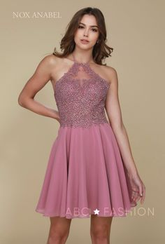 980c4cb8fd2 Short Halter Dress with Applique Bodice by Nox Anabel G657