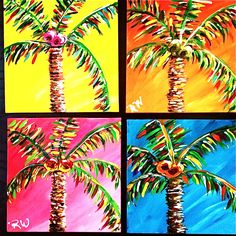 Palm Trees of many colors painting - Dee Ree - Painting Lessons, Diy Painting, Art Lessons, Painting & Drawing, Palm Tree Drawing, Palm Tree Art, Palm Trees, Adult Art Classes, Seascape Paintings