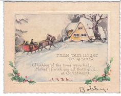 1936 vintage Christmas card - sleigh and snowy cottage