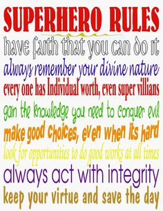 Kandy Kreations: Superhero Rules Printable and Dare to Share Linky - My DIY Tips Superhero Rules, Superhero Classroom, Superhero Party, Classroom Decor, Superhero School, Female Superhero, Personal Progress, Vacation Bible School, School Themes