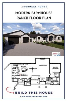 Beautiful ranch style modern farmhouse floor plan designed and built by Nordaas Homes, a full-service custom home builder in Minnesota. We have a variety of house plans--from single story, two story, small homes and more...all tried, tested