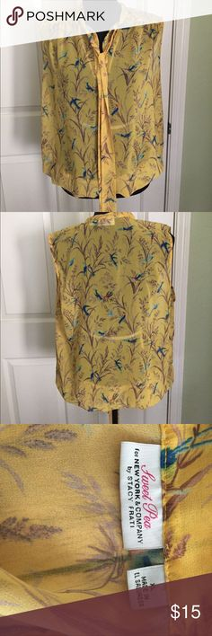 Yellow top Sweet Pea for New York & Co. mustard yellow floral top. New York & Company Tops Blouses