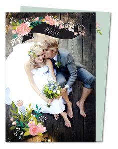 carte de remerciement mariage floral pastel prv 201 - Remerciement Mariage Personne Absente