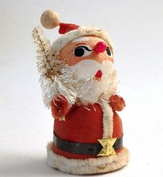 Vtg Christmas Santa Claus Bottle Brush Paper Mache Ornament Figurine Japan 1957