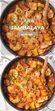 A delicious Jambalaya recipe classically prepared with chicken shrimp and andouille sausage. This easy cajun stew is a healthy meal with rice vegetables and plenty of protein all simmered in one pot. Seafood Recipes, Soup Recipes, Dinner Recipes, Cooking Recipes, Healthy Recipes, Skillet Recipes, Shrimp Recipes With Rice, Meals With Rice, Chicken