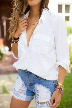 White boyfriend shirt and distressed denim shorts