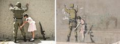 """Pat Down""; Artists: BANKSY [street art] and Nick Stern [real life]"