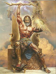 El es Júpiter, su nombre en griego es Zeus, es el padre de dioses y de los hombres, soberano de las alturas, el que administra la Justicia, lanza el rayo y amontona las nubes. Sus atributos son el águila, el rayo y el cetro.