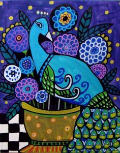 Peacock Art Black and White Harlequin Vase Mackenzie Childs Folk Art Painting Print Poster Flowers