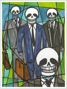 11x14 Business Men Muertos Skull Art Print Artisan Courtyard http://www.amazon.com/dp/B00KBSPLMS/ref=cm_sw_r_pi_dp_Ktckvb1D6MBK3