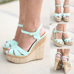 Buy these adorable Mint Wedges from Saved By The Dress Boutique today! Perfect mint wedges for spring and summer wear. Mint Wedges, Mint Heels, Dream Shoes, Crazy Shoes, Cute Shoes, Me Too Shoes, Pretty Shoes, Wedge Shoes, Shoes Heels