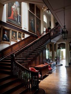 Badminton: The Great Staircase, remodeled in the early 19th century, features some of the almost 200 family portraits hanging in the house.