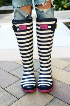 Joules Striped Rain Boots: Raspberry Glow