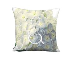 Personalized Pillow - Blue Hydrangea Elegance Monogram Pillow - 10 12 14 Inch 16 18 20 Inch 22 24 26 Euro 28 Inch Linen Cotton Pillow Cover by artanlei on Etsy https://www.etsy.com/listing/215310107/personalized-pillow-blue-hydrangea