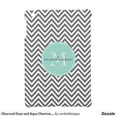 Charcoal Gray and Aqua Chevron Custom Monogram Case For The iPad Mini