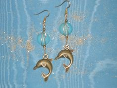 Frolicking dolphins bronze dolphin earrings wire by MermaidMiss