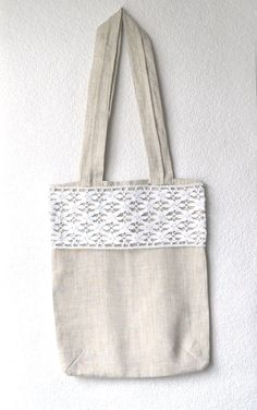 e5bd3a3a91a3b CHRISTMAS IN JULY Gray Lace Tote Bag Linen Tote Bag by lyralyra