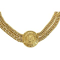 Pre-owned Chanel Vintage Gold Double Strand Chain Medallion Choker (£715) ❤ liked on Polyvore featuring jewelry, necklaces, yellow gold chain necklace, statement necklaces, medallion necklace, gold choker necklace and chain necklaces