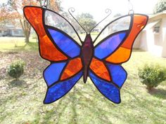 Stained Glass Butterfly in Orange and Blue- Gainesville Florida loves their Gators! on Etsy, $35.00