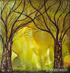 Alcohol Ink Painting - Entering The Enchanted Forest by Jane Steelman