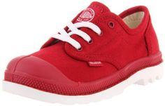 """Palladium Pampa Sport Canvas Oxford (Toddler/Little Kid/Big Kid) Palladium. $12.99. Fabric. Measurements: 0.75"""" heel. This shoes / sandals / boots style name or model number is Pampa Oxford. Manmade sole. Material: Basic Textile Upper and Man-Made Outsole. Color: Rio Red/White. Width: M"""