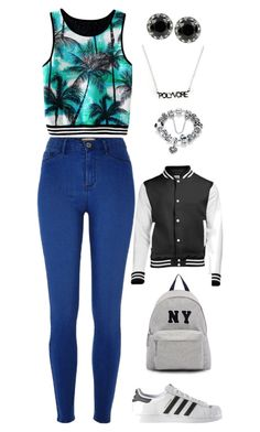 """""""#StyleInsider"""" by rhay-q ❤ liked on Polyvore featuring River Island, Betsey Johnson, adidas, Joshua's, contestentry and styleinsider"""