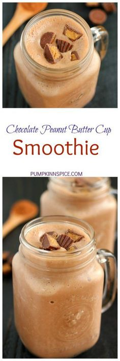 Chocolate Peanut Butter Cup Smoothie {Plus a Video!} Peanutbutter Smoothie Recipes, Chocolate Peanut Butter Smoothie, Dark Chocolate Nutrition, Smoothie Recipes For Kids, Superfood Recipes, Fruit Recipes, Juice Recipes, Baking Recipes, Sugar Free Peanut Butter