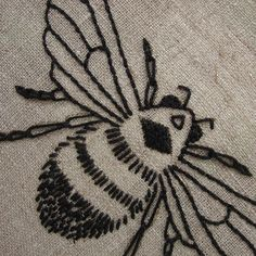 Embroidery kit natural linen bumblebee design, rustic wall decor, hoop art, insect art