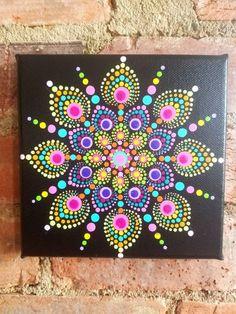 Mandala Dot Painting 6 x 6 Dot Painting Tools, Dot Art Painting, Mandala Painting, Painting Patterns, Stone Painting, Rock Painting, Mandala Painted Rocks, Mandala Rocks, Mandala Canvas