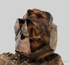 Smoky Quartz on Calcite -Tafelkop, Goboboseb Mountains, Brandberg Area, Erongo Region, Namibia mw