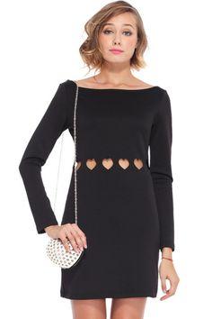ROMWE | Heart-shaped Hollow Black Dress, The Latest Street Fashion
