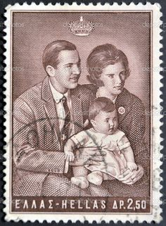 Stamp: King and Queen with Princess Alexia (Greece) (Greek Kings and Queens) Mi:GR 952 Constantine Ii Of Greece, Ex Yougoslavie, Greek Royalty, Greek Royal Family, Frederick William, Postage Stamp Art, Greek Culture, Greece Wedding, Stamp Collecting