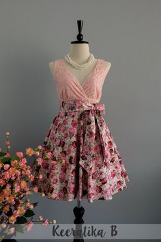 My lady II - Spring Summer Sundress Pink Lace Top Purple Floral Skirt Floral Bridesmaid Dress Pink Lace Dress Party Dress Floral Dress XS-XL