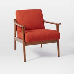 Mid-Century Show Wood Upholstered Chair, Tweed, Salt And Pepper/Pecan