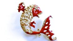 Rhinestone Enamel Fish Brooch Figural Jewelry by CrimsonVintique, $38.00