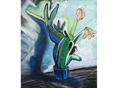 Original Canvas Painting - The Flower pot- Contemporary Art - Expressionism - Oil on canvas - inches cm) Flower Pots, Flowers, Flower Paintings, Expressionism, Oil On Canvas, Contemporary Art, The Originals, Plant Pots, Florals