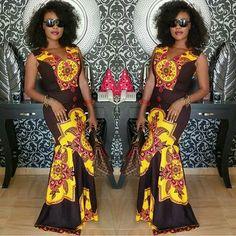 Lovely Ankara Gown Design for Ladies . Lovely Ankara Gown Design for Ladies African Dresses For Women, African Attire, African Wear, African Women, African Clothes, African Inspired Clothing, African Print Fashion, Ethnic Fashion, African Prints