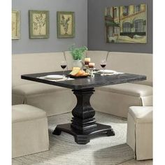 Ophelia & Co. Sinead Dining Table & Reviews | Wayfair Linen Dining Chairs, Dining Room Bar, Table And Chairs, Banquette Dining, Corner Banquette, Dining Area, Square Dining Tables, Pedestal Dining Table, Extendable Dining Table